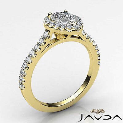Halo Pear Diamond Engagement French U Pave Set Wedding Ring GIA H Color VVS2 1Ct 8