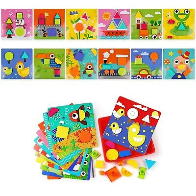 Button Art Preschool Learning Toys Color Matching Mosaic Pegboard Set For 3+Year](Colored Pegboard)