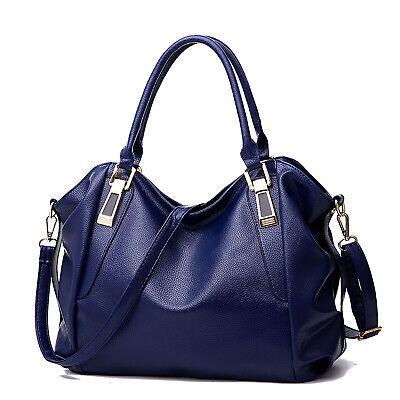 Leder-tragetasche (Blau Damentasche Leder Reisetasche Shopper Schultertasche Handtasche Tragetasche)