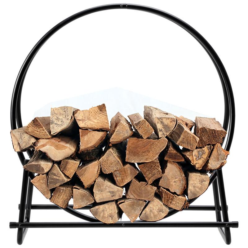 """30"""" Tubular Steel Log Hoop Firewood Storage Rack Holder Carrier Round Display"""
