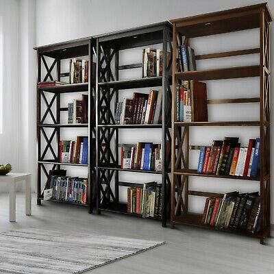 - 5 Shelf Bookcase Bookshelf Tall Wide Display Farmhouse Solid Wood Various Colors