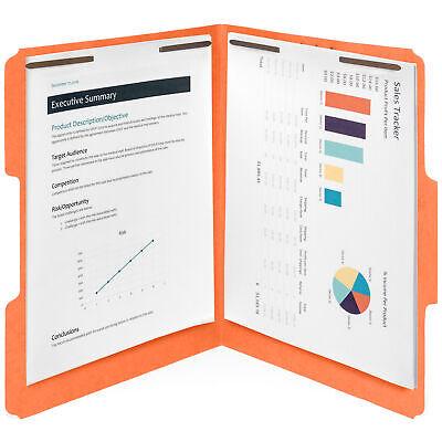 50 Orange Fastener File Folders, 1/3 Cut Reinforced tab, 2 Prongs, Letter Size (Fasteners 1/3 Tab Cut Letter)
