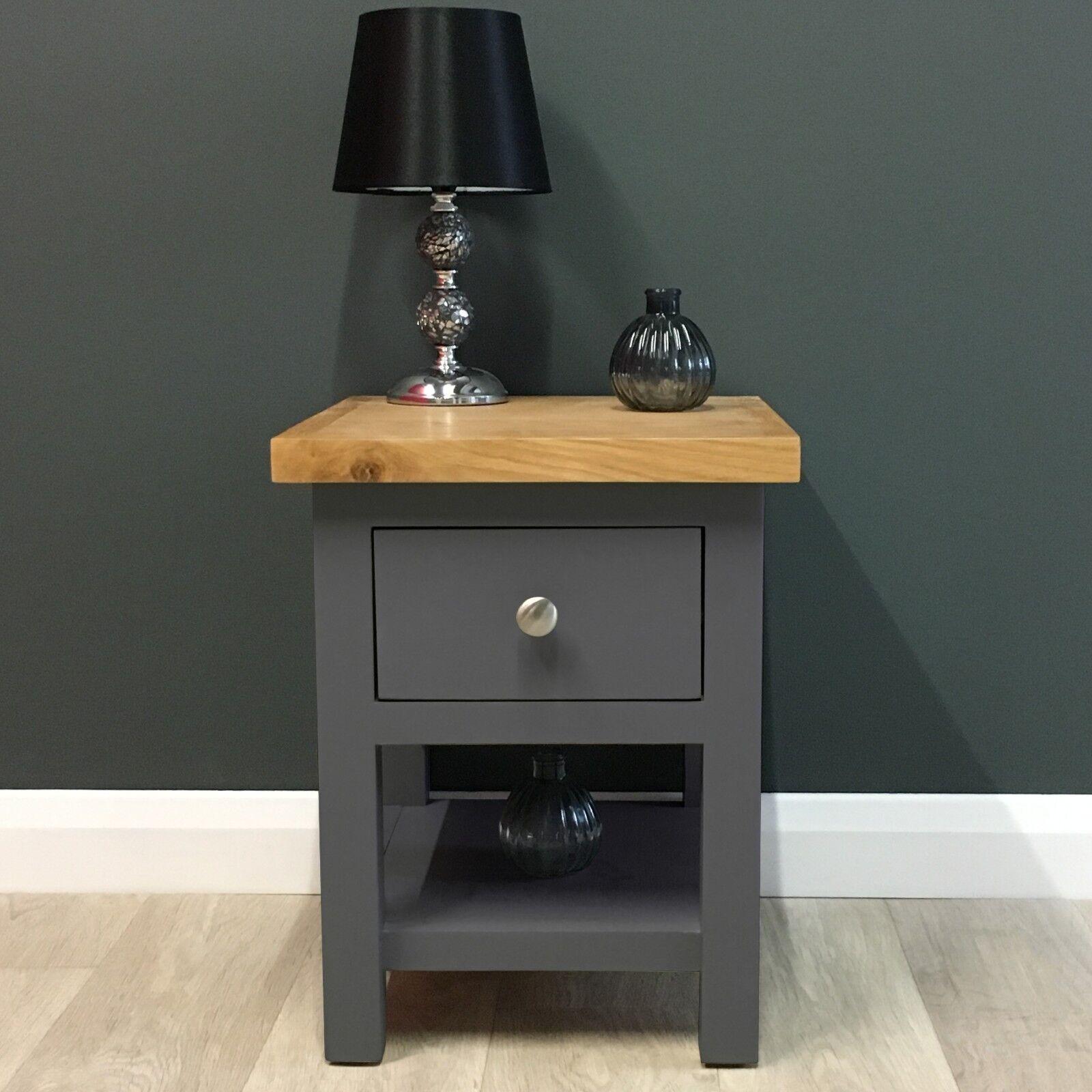 Painted Lamp Table Oak Dark Grey Side