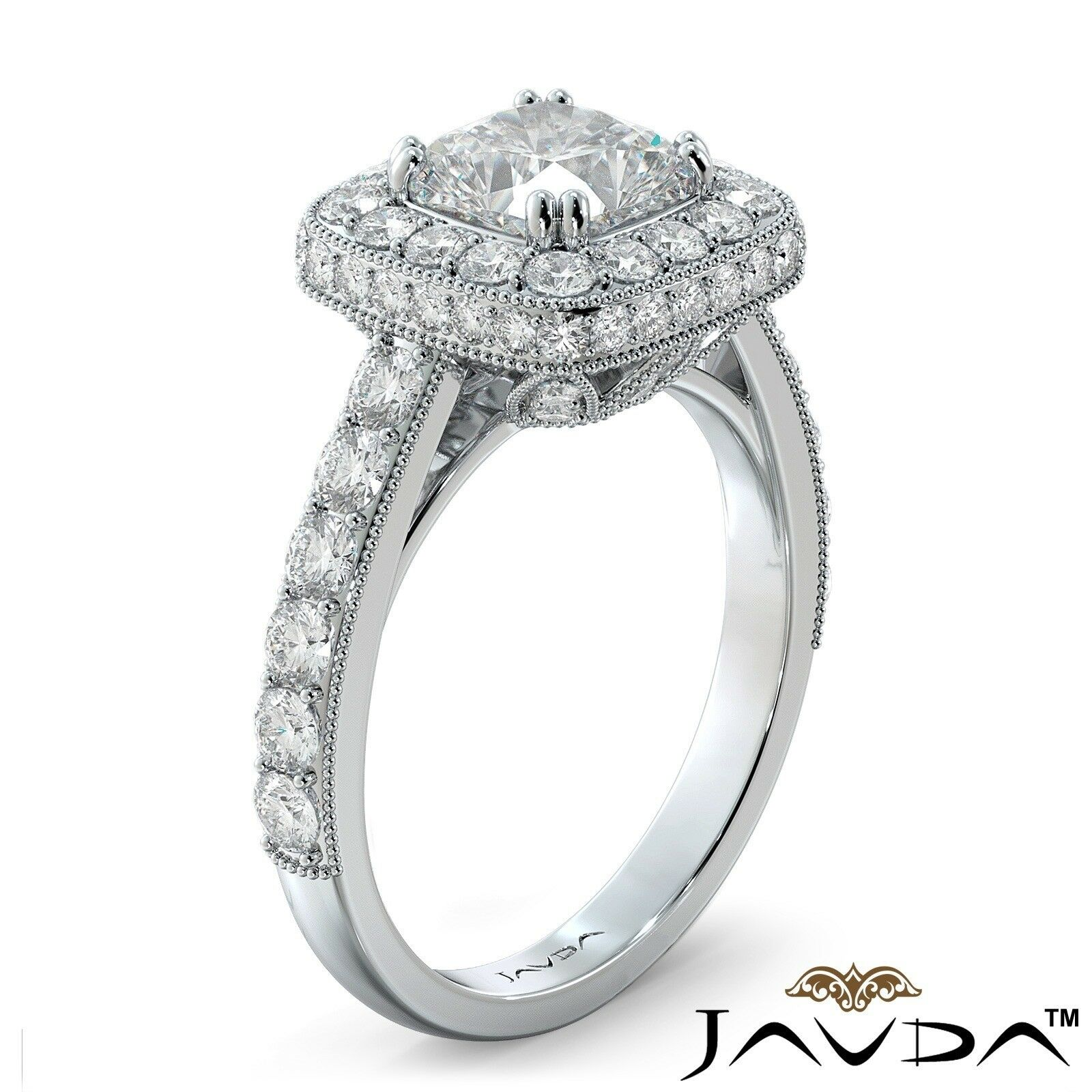 2.12ctw Milgrain Floral Basket Cushion Diamond Engagement Ring GIA I-SI2 W Gold 1