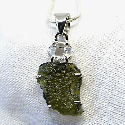 Moldavite Herkimer Diamond Quartz 925 Silver Pendant Green Genuine Czech Tektite