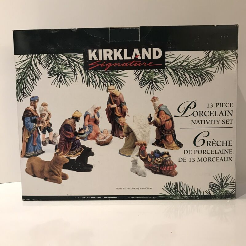 13 Piece Porcelain Nativity Set Kirkland Signature 18366 Jesus Mary Joseph Angel