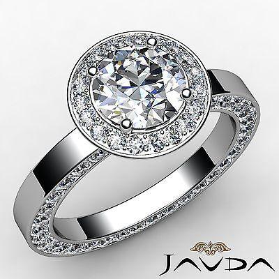 Round Diamond Engagement Eternity Style Ring GIA F VS2 14k White Gold 2.83ct