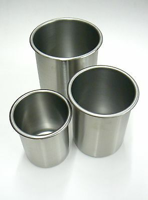 Stainless Bain Marie Pots Set 3 Sizes Stainless Steel Beakers Containers Pots