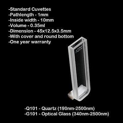 Azzota 1mm Pathlength Quartz Cuvettes - 0.35ml Quartz