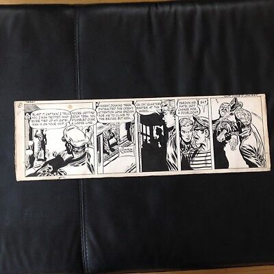 """Terry and the Pirates Original Daily Comic Strips George Wunder 1954 7.5 x 23"""""""