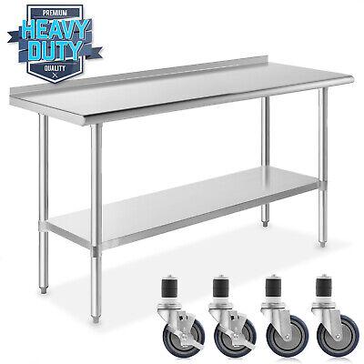 Stainless Steel 24 X 60 Nsf Kitchen Restaurant Prep Table W Backsplash Casters
