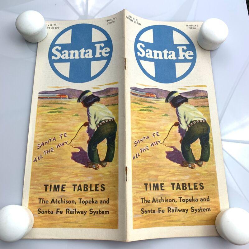 Vtg July 1949 Santa Fe Railroad Passenger TimeTable & Map