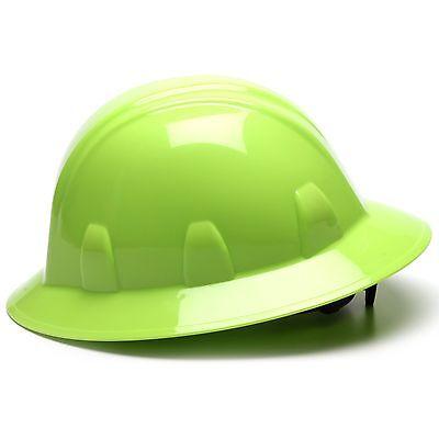 Pyramex Full Brim Hard Hat With 4 Point Ratchet Suspension Green