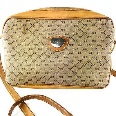 Vintage Gucci Shoulder Bag Purse Tan Beige Canvas Leather Medium GG Long 1970's