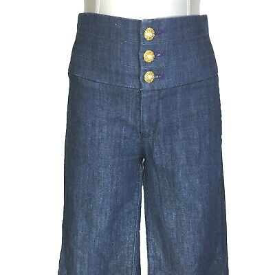 Skinny Wide Leg Jeans (RICH SKINNY Hi Waist Jeans Wide Leg Gold Button Dark Blue Pocket 28 M 70s Style)