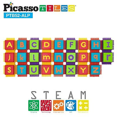 PicassoTiles 52pcs Bristle Shape Alphabet Toy Stacking Educational Blocks PTB52