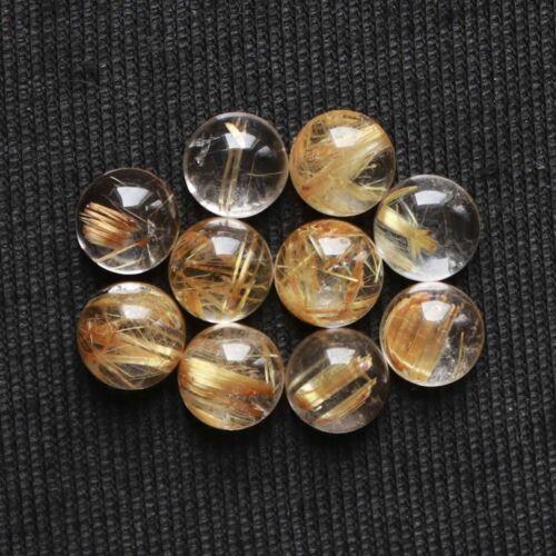 Wholesale Lot 100% Natural Golden Rutile Quartz Cabochon Round Shape Gemstone
