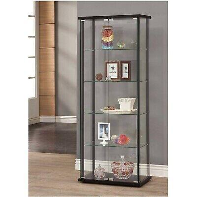 - Curio Cabinet Glass Storage Display Shelf Case Corner Wall Shelve Wood Furniture