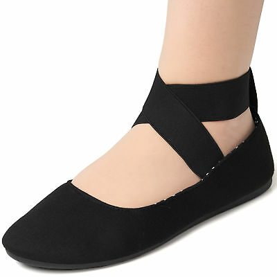 (Alpine Swiss Peony Womens Ballet Flats Elastic Ankle Strap Shoes Slip On Loafers)