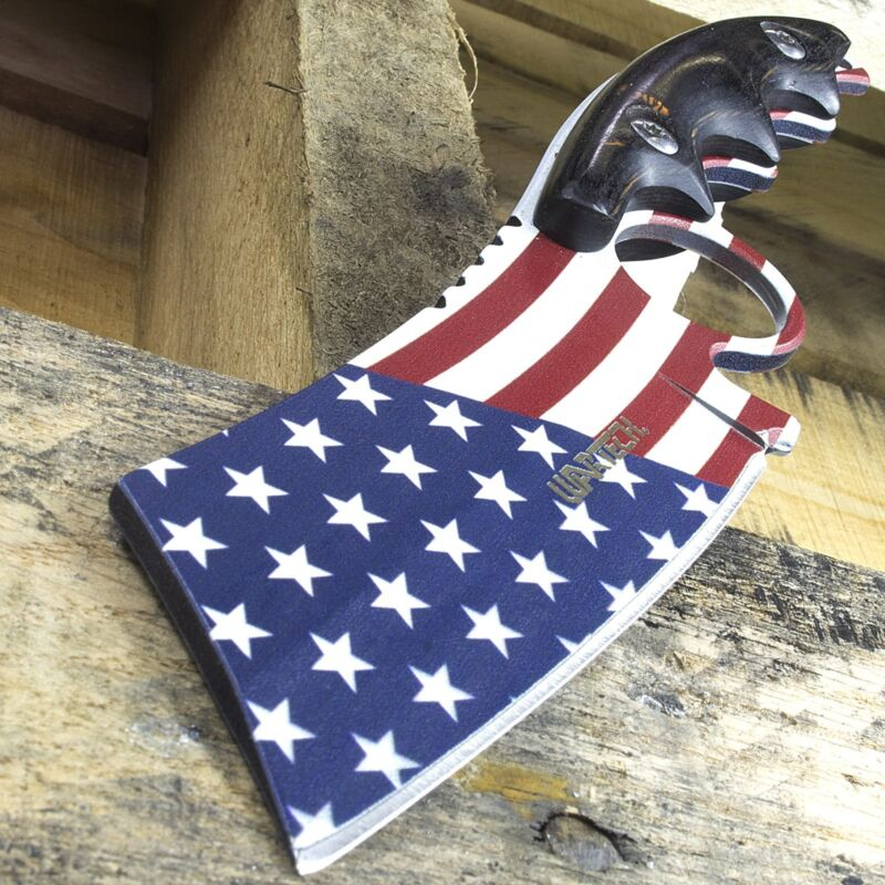 """8.25"""" WARTECH PROUD AMERICAN USA FLAG FULL TANG HUNTING SKINNING KNIFE Cleaver"""