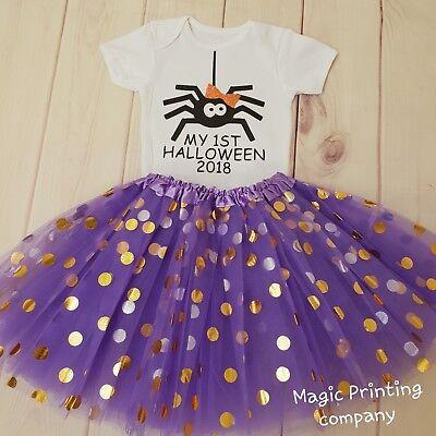 Baby Girls 1st Halloween Spider Costume Tutu Outfit Gift Cake Smash Bodysuit TOP - Spider Girl Bodysuit