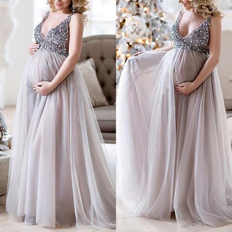 Maternity Umstands Damen Lang Maxi Kleid Party Abendkleid Ballkleid Fotoshooting