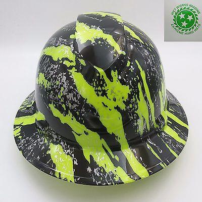 Hard Hat FULL BRIM custom hydro dipped , OSHA approved NEW URBAN CAMO HI VIS