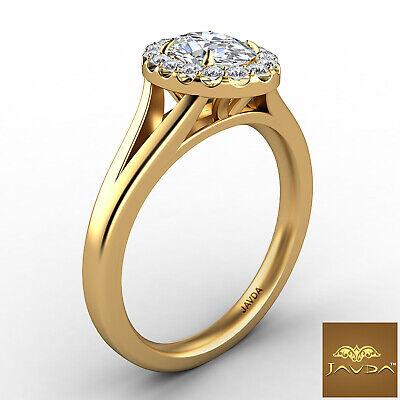 Halo Split Shank Oval Diamond Engagement French Pave Set Ring GIA F VVS1 0.70Ct 6