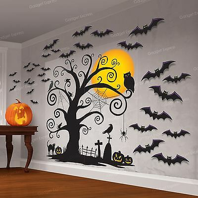 Halloween Cemetery Wall Scene Setter Party Decoration Kit Gothic Graveyard Bats (Home Decorations Halloween)