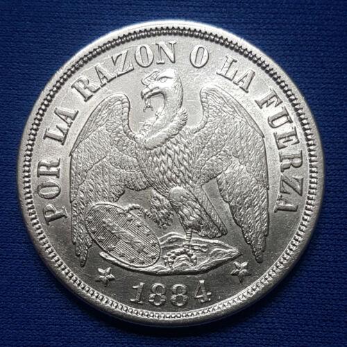 1884-So Chile Silver 1 Peso. High Grade. - 175