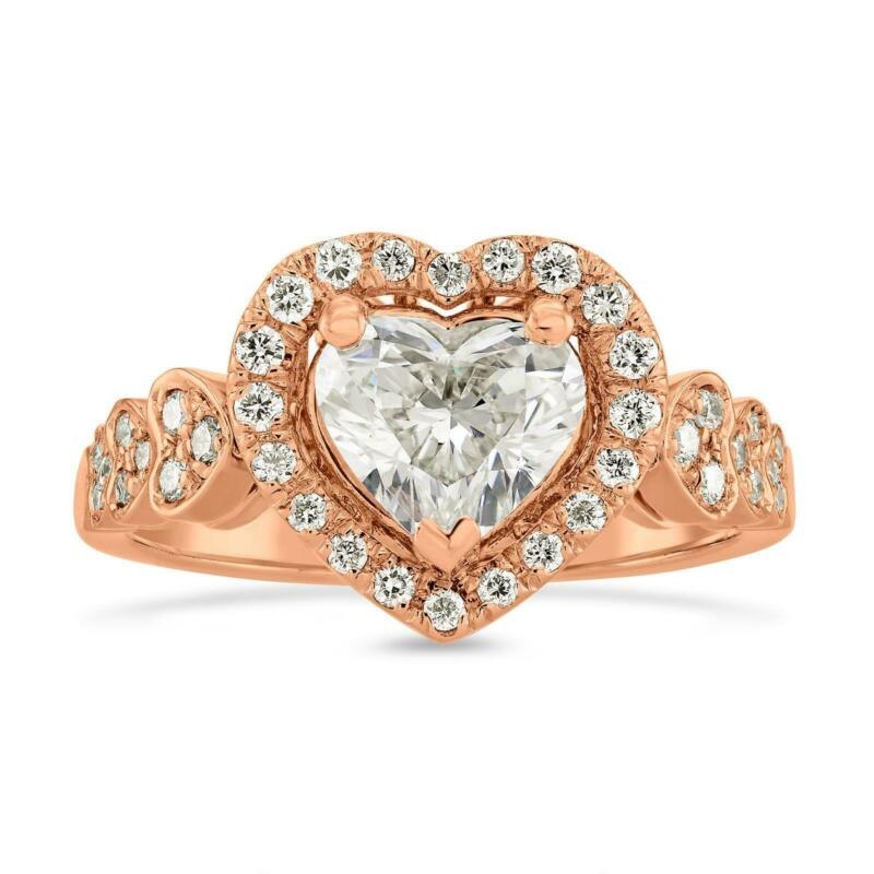 Diamond Halo Ring Heart Cut Si2 1.5 Ct Women 14 Kt Rose Gold Red Natural Estate