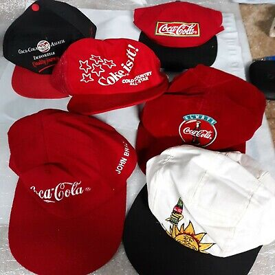 Lot Of 6 Vintage Coca Cola Patch/stitch/graphic Hat/Cap embroidered