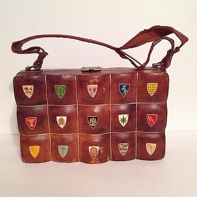 Unique Vintage Leather Handbag Purse Medieval Crests