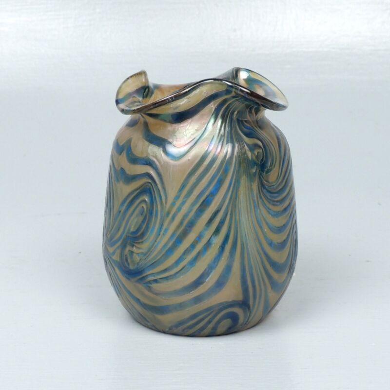 Antique Kralik Blue On Gold Art Glass Vase - Pulled Feather King Tut Loetz GL