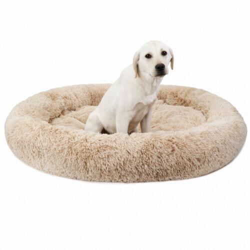 Luxury Shag Fuax Fur Donut Cuddler Round Donut Dog Beds Indoor Pillow Cuddler Beds