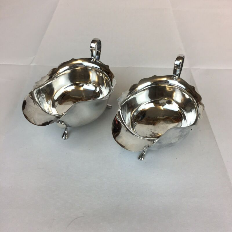 Vintage 1927 Barker Brothers Silver Pair Of Sterling Silver Sauce Boats 14.5cm L