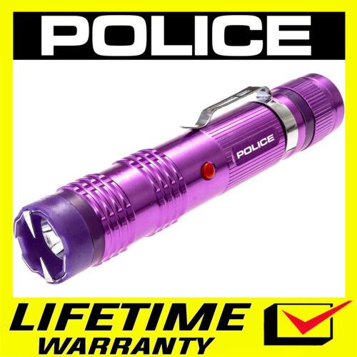 POLICE Stun Gun Purple M12 550 BV Heavy Duty Metal Rechargeable LED Flashlight