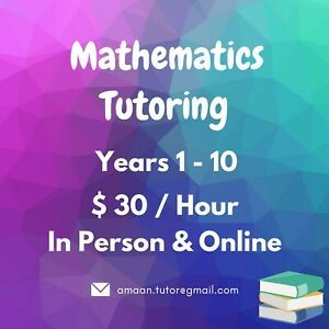 Mathematics Tutor - Years 1 to 10
