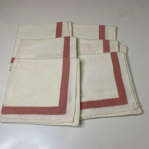 vintage napkin set 6 linen white with pink trim square 12x11