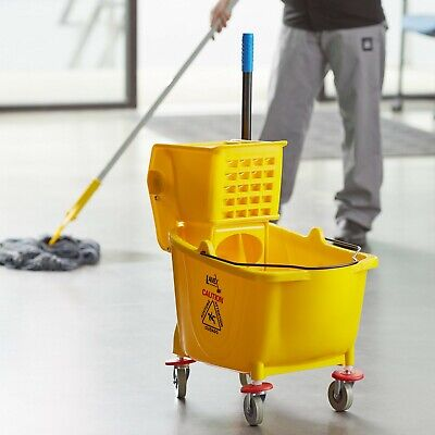 Yellow 36 Quart Plastic Mop Bucket With Wheels Side-press Wringer Combo