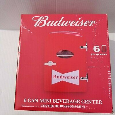 Budweiser 6 Can Mini Refrigerator Retro Beverage Center with Car Adapter NEW