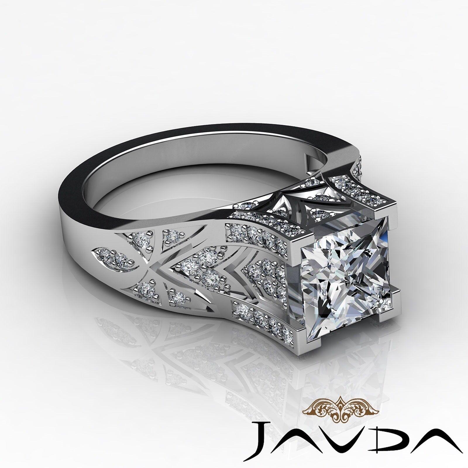 1.5ctw Antique Pave Princess Diamond  Engagement Ring GIA F-VS1 White Gold 2