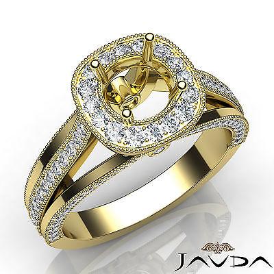 Pre-Set Diamond Engagement Round Semi Mount Millgrain Ring 18k Yellow Gold 0.9Ct