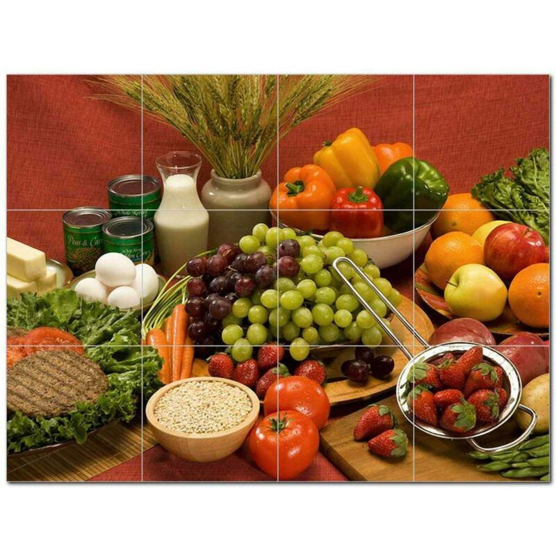 Fruits Vegetables Ceramic Tile Mural Kitchen Backsplash Bathroom Shower 405183