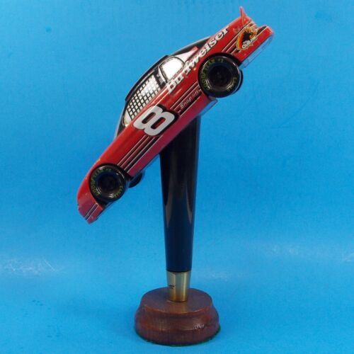 Budweiser #8 Race Car Beer Tap Handle On Wooden Base