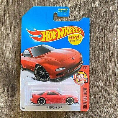 Hot Wheels 2017 Kmart '95 Mazda RX-7 RED Exclusive FBJ11-D9B0Q Then & Now 3/10