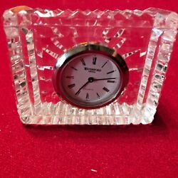 SMALL GENUINE WATERFORD CRYSTAL DESK CLOCK, WORKS, FREE SHIPPING