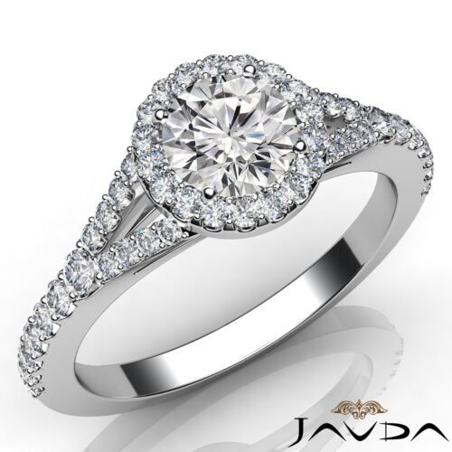 Round Diamond Women's Engagement Halo Prong Ring GIA D VS2 14k White Gold 1ct