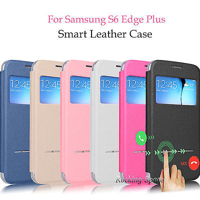 Flip Smart Window View Stand Leather Case For Samsung Galaxy S6   S6 Edge Plus