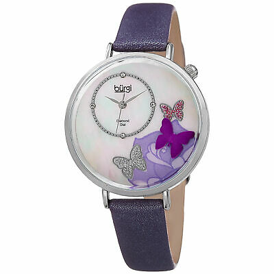 Women's Burgi BUR158PU 3-D Butterfly Mother of Pearl Diamond Dial Strap Watch